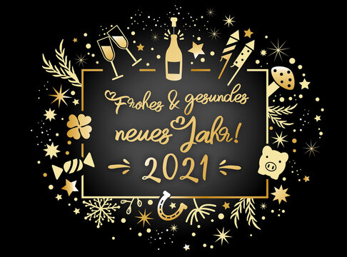 Wir wünschen frohes und gesundes neues Jahr 2021-  Kalligraphie mit Symbolen - deutscher Text