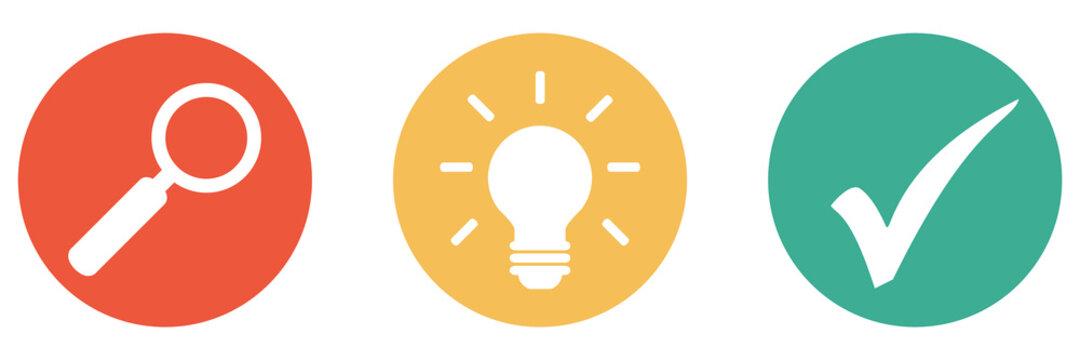 Bunter Banner mit 3 Buttons: Ideen und Lösungen suchen und finden