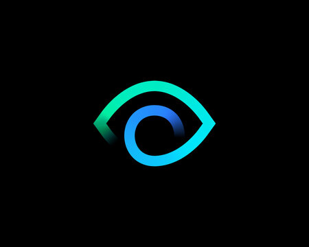 Abstract colorful eye sight logo design vector template.Creative ophthalmology vision spy logotype sign icon in minimalistic style.
