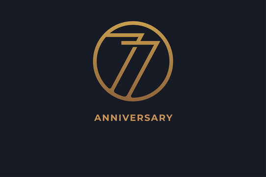 Number 77 logo, gold line circle with number inside, usable for anniversary and invitation, golden number design template, vector illustration