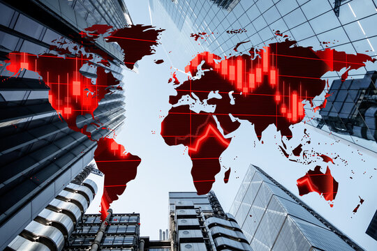 World financial crisis concept with falling global stock markets on a background of corporate business skyscraper office blocks. Graph representing the stock market crash caused by Coronavirus COVID19