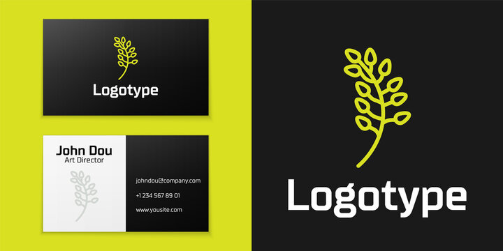 Logotype line Willow leaf icon isolated on black background. Logo design template element. Vector Illustration