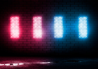 Fotomurales - Dark brick wall, blue neon light. Rays and glare of light in the dark. Night view of a dark street, abstract projection on an empty wall. 3D illustration