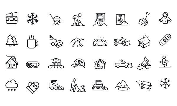 Snow Removal icons vector design