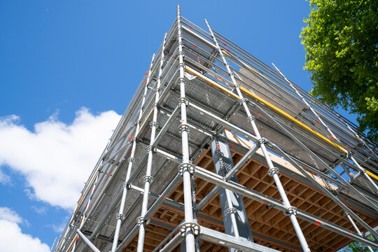 Scaffolding erected on building corner