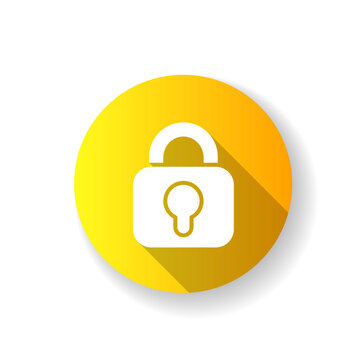 Lock yellow flat design long shadow glyph icon. Locking different personal information. Using simple image for mobile application. Password input form. Silhouette RGB color illustration