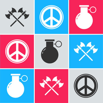 Set Crossed medieval axes, Peace and Hand grenade icon. Vector