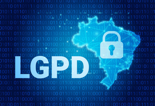 LGPD - Brazilian Data Protection Authority DPA, rights under the Lei Geral de Prote o de Dados - Spanish . Vector background with lock and map of Brazil