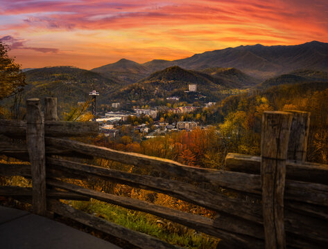 Gatlinburg overlook during brilliant red sunset