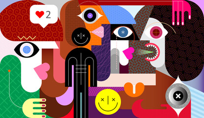 Group of people and smiley sign graphic artwork. Different people talk to each other.