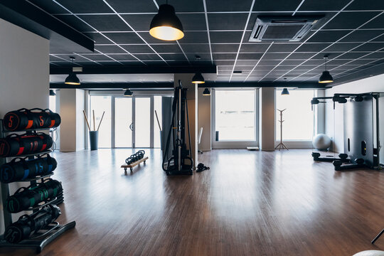 Interior of gym with exercise equipment