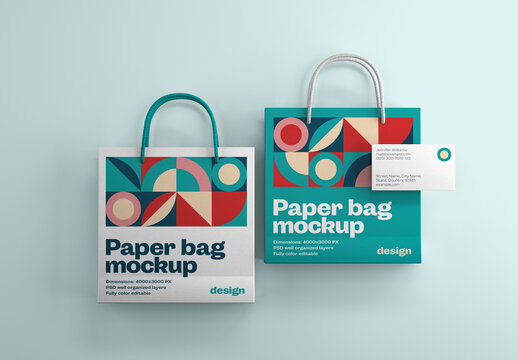 Paper Bag Branding Mockup with Business Cards