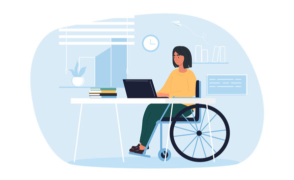 Young pretty disabled woman in wheelchair working on laptop computer at home or office. Handicapped businesswoman character at workplace. Disability concept. Flat cartoon vector Illustration.