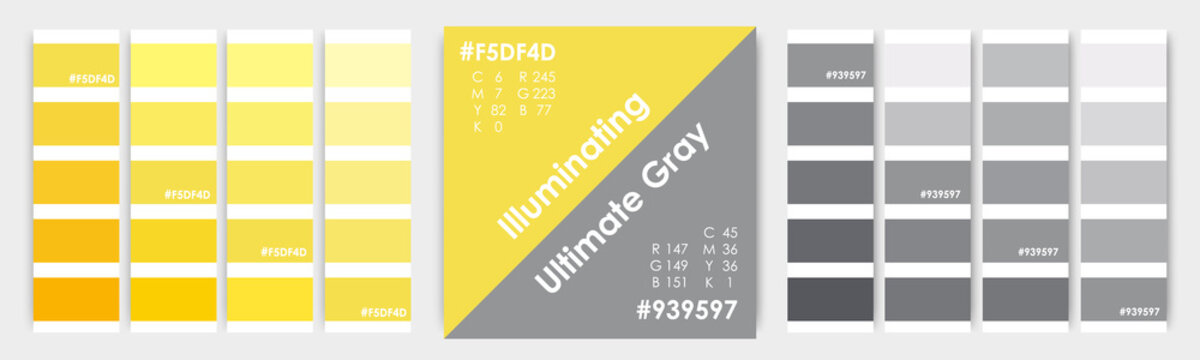 Color of the year 2021 for print and digital use.Ultimate Gray and Illuminating Yellow graphic design 2021abstract background. Vector color proof for web, print color palette guide trend 2021