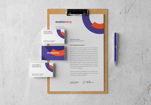 Clipboard and Stationery Branding Mockup