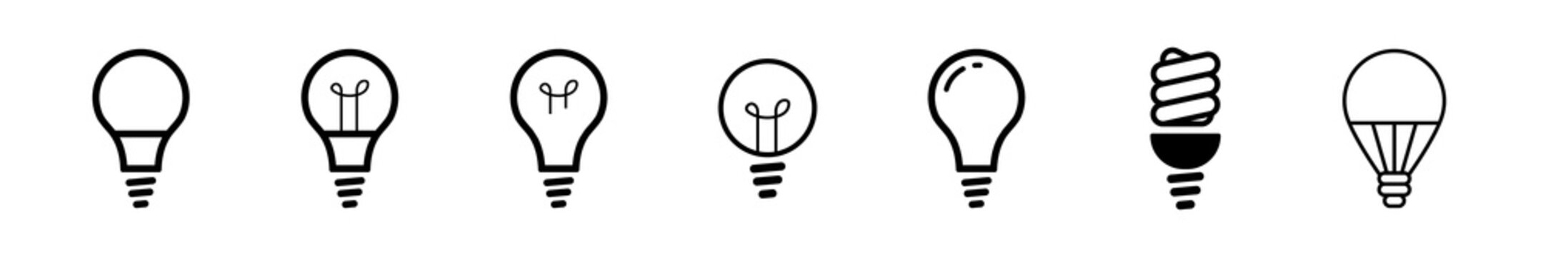 Light bulb icons thin line art set. Black vector symbols isolated on white. Set of different types of bulbs