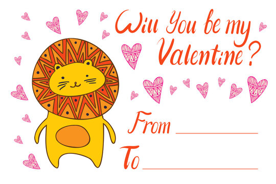 Isolated colorful illustration of bright orange lion cat will you be my Valentine card with hearts