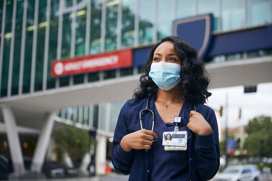 Portrait of Registered Nurse outside Hospital