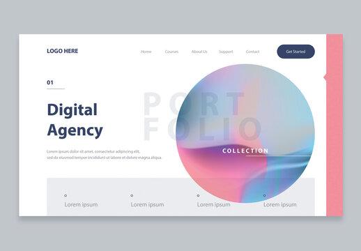 Modern Website Landing Page Layout with Minimal Gradient Design