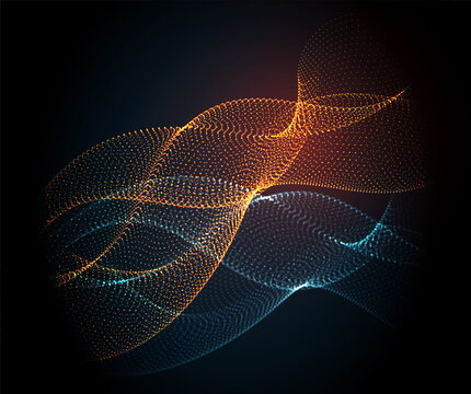 Smooth smoke particle wave, orange, blue color. Vector illustration
