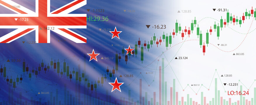 Creative (new zealand) flag banner with stock exchange market ,Graph chart of stock market investment world trading, 3D illustration.