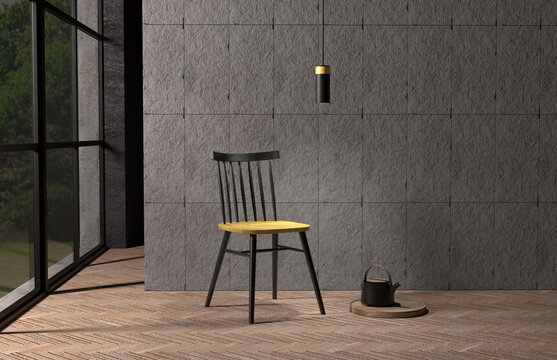 Industrial interior with a chair in front of a concrete wall, Pantone 2021 colors