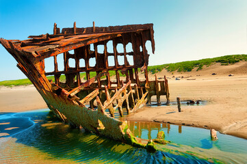Peter Iredale Ship Wreck at Low Tide