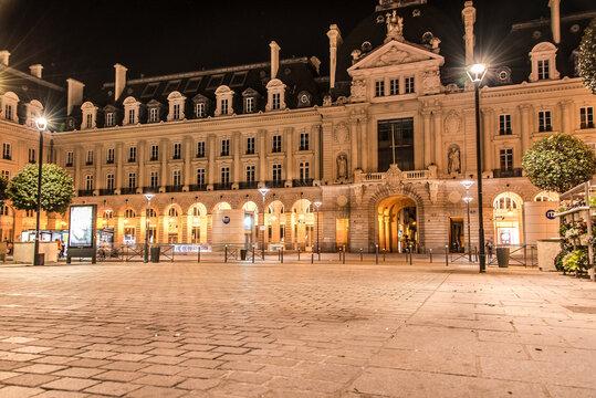 Place de la République de Nuit, Rennes, France