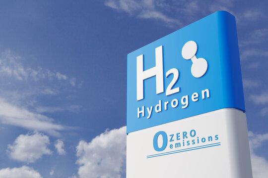 Hydrogen fuel car charging station white color visual concept design. 3d Illustration