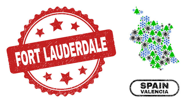 Vector Covid winter collage Valencia Province map and Fort Lauderdale rubber stamp seal. Fort Lauderdale stamp seal uses rosette shape and red color.