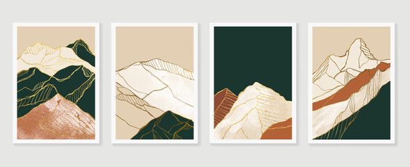 Obraz Luxury Gold Mountain wall art vector set. Earth tones landscapes backgrounds set with moon and sun.  Abstract Plant Art design for print, cover, wallpaper, Minimal and  natural wall art.  - fototapety do salonu