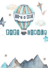 Watercolor children baby shower invitation Transport by Air with hot air balloon, clouds, mountains