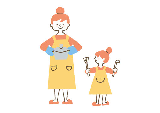 料理する母娘