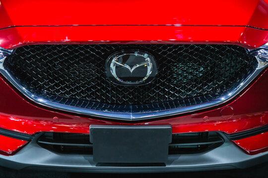 BANGKOK, THAILAND 1 April, 2018:  New Mazda CX5 on display with logo at Thailand International Motor Expo 2018 IMPACT Arena, Muang Thong Thani in Nonthaburi, Thailand