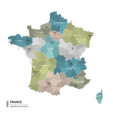 France higt detailed map with subdivisions. Administrative map of France with districts and cities name, colored by states and administrative districts. Vector illustration.