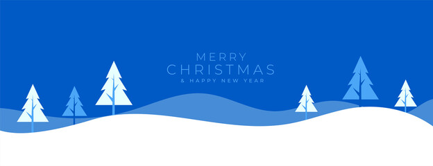 flat winter landscape banner for merry christmas