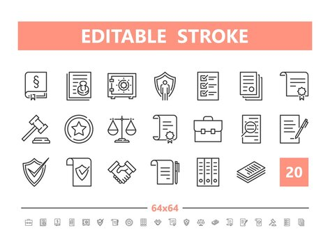 Legal documents 20 line icons. Vector illustration in line style. Editable Stroke, 64x64, 256x256, Pixel Perfect.