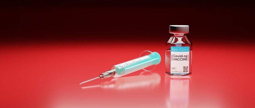Corona Impfstoff gegen die Pandemie Covid-19 mit Spritze