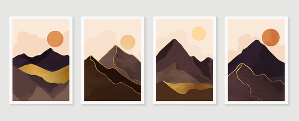 Luxury Gold Mountain wall art vector set. Earth tones landscapes backgrounds set with moon and sun.  Abstract Plant Art design for print, cover, wallpaper, Minimal and  natural wall art.