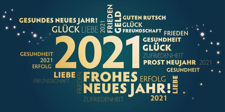 Frohes und gesundes neues Jahr - 2021 Neujahrsgrüße gold und dunkelgrün - Wünsche auf deutsch.