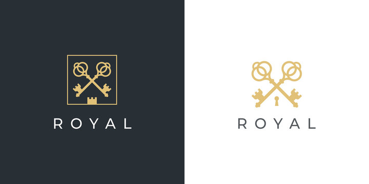 Royal gold key icon. Modern real estate logo template. Crossed classic keys symbol. Luxury hotel sign. Vector illustration.