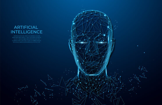 Human head created in low poly style. Man face polygon light. Intelligence allegory AI. Facial Recognition System concept. biometric scanning, 3D scanning. Polygon vector wireframe concept.