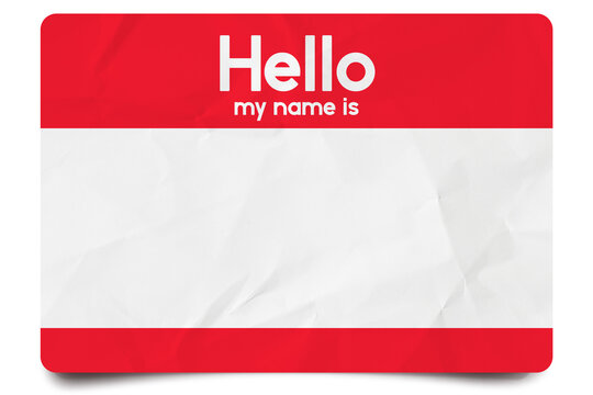 Red hello my name is name tag blank template