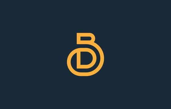 merged letter D with B, BD, DB logo design