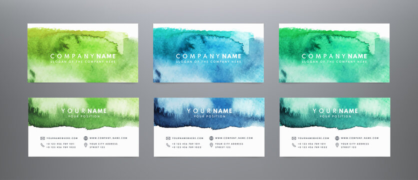 Set vector business cards template with hand painted brush strokes backgrounds. Abstract watercolor business cards. Bright vector grunge design