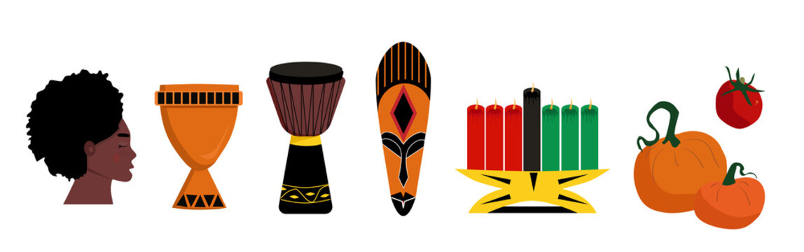 Kwanzaa symbols and ideas.Seven candles kinara and lighting ceremony (Mishuma Saba).Unity cup and mask.Celebration poster.Festival of African-American culture and harvest traditions.New year holiday.