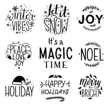 Christmas lettering set. Hand Drawn Ink Lettering