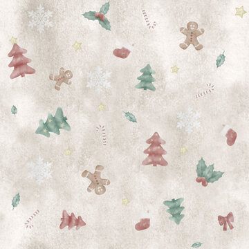 cute handpainted seamless repetitive christmas pattern, with tree, gingerbread man and candy cane on watercolor background