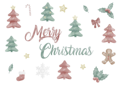 cute hand painted watercolor christmas holiday elements, tree, gingerbread, holy, isolated on white background