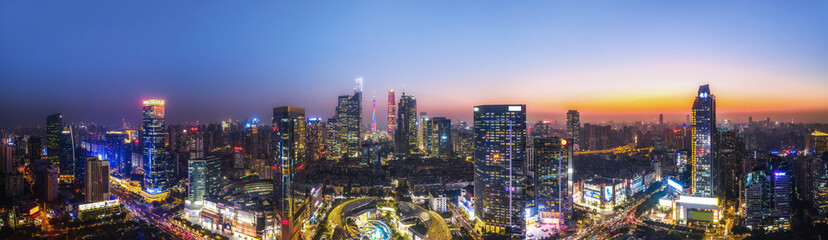Aerial photography of Chinese city night view and modern building landscape skyline Fotomurales